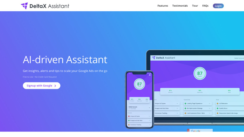 DeltaX Assistant Landing Page