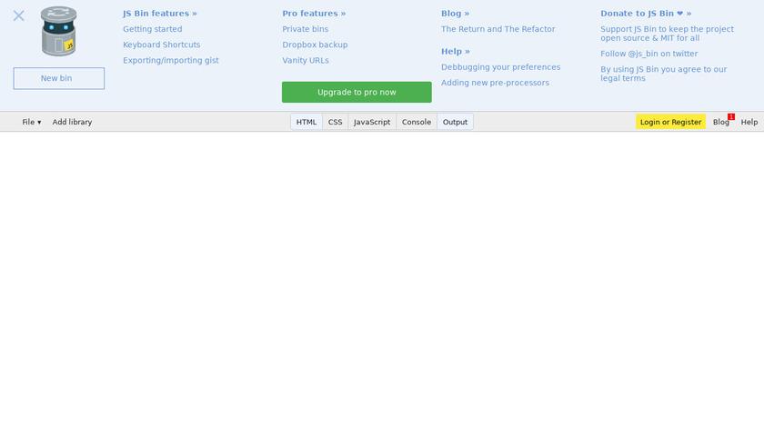 JS Bin Landing Page