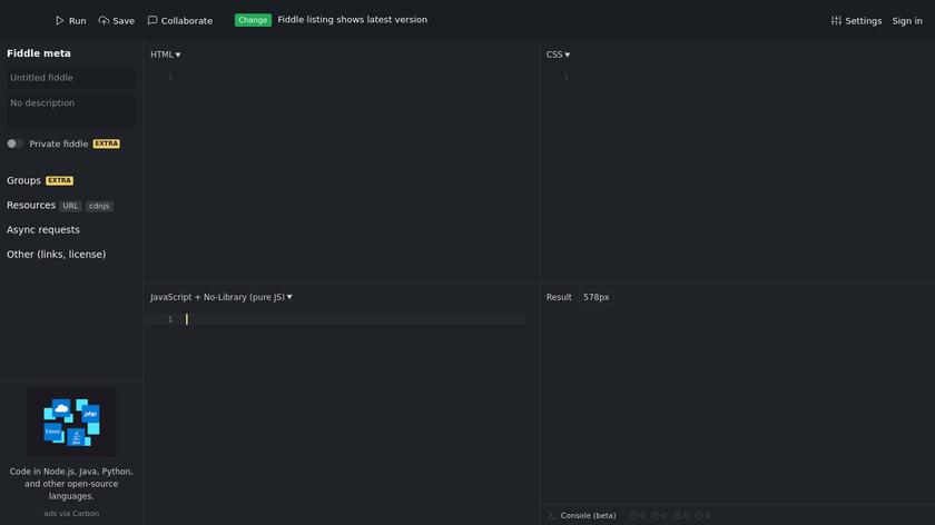 JSFiddle Landing Page
