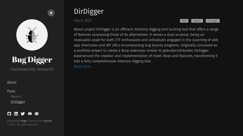 BugDigger Landing Page