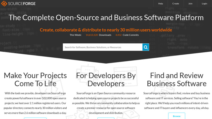 SourceForge Landing Page