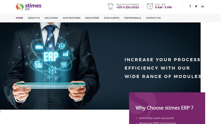 Stimes ERP Landing Page