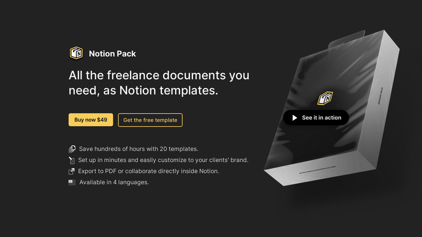Notion Pack Landing Page
