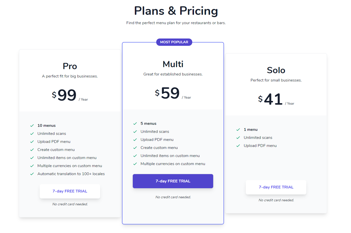 Velox Menus Pricing as of 2020-10-05