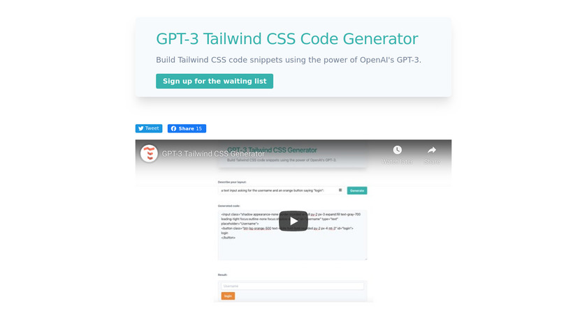 GPT-3 Tailwind CSS Landing Page