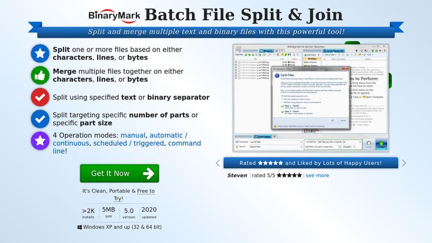 Batch File Split & Join Landing Page