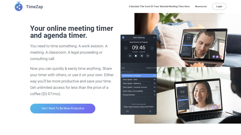 Timezap Landing Page