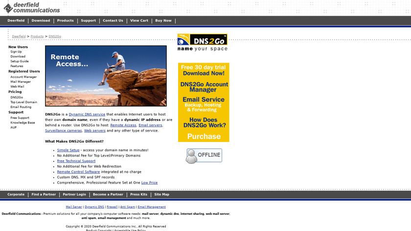 DNS2Go Landing Page
