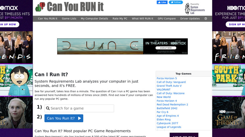 Can You Run It? Landing Page