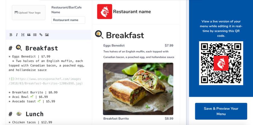 CreateQRMenu.io Landing Page