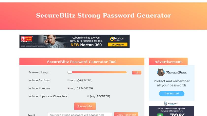 SecureBlitz Strong Password Generator Landing Page