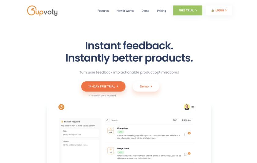 Upvoty Landing Page
