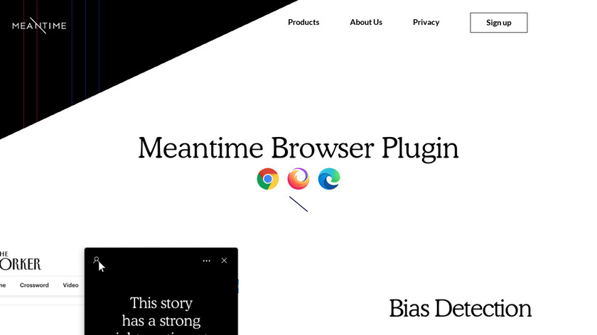 Meantime Browser Plugin Landing Page