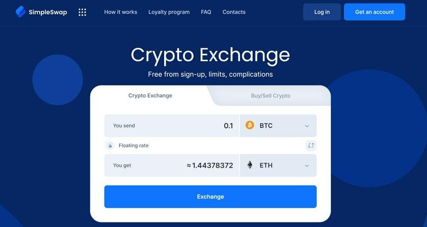 SimpleSwap.io Landing Page