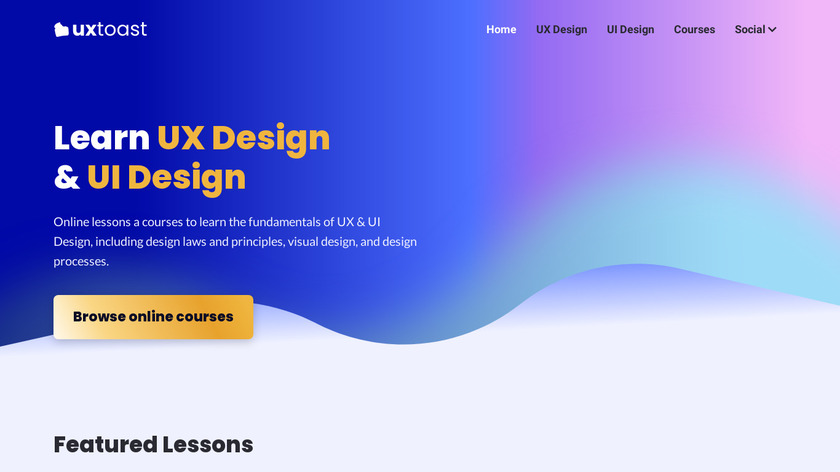 uxtoast: Learn UX Design Landing Page