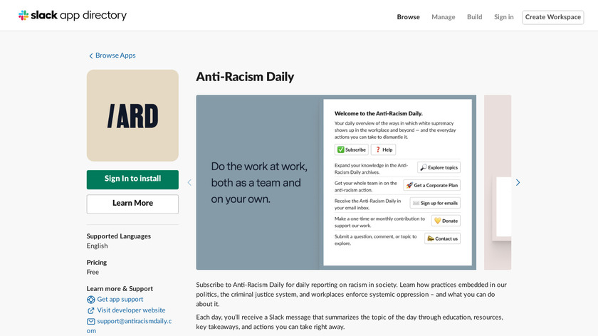 Anti-Racism Daily Landing Page