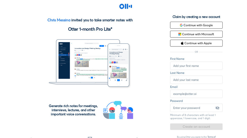 Otter Live Notes Landing Page