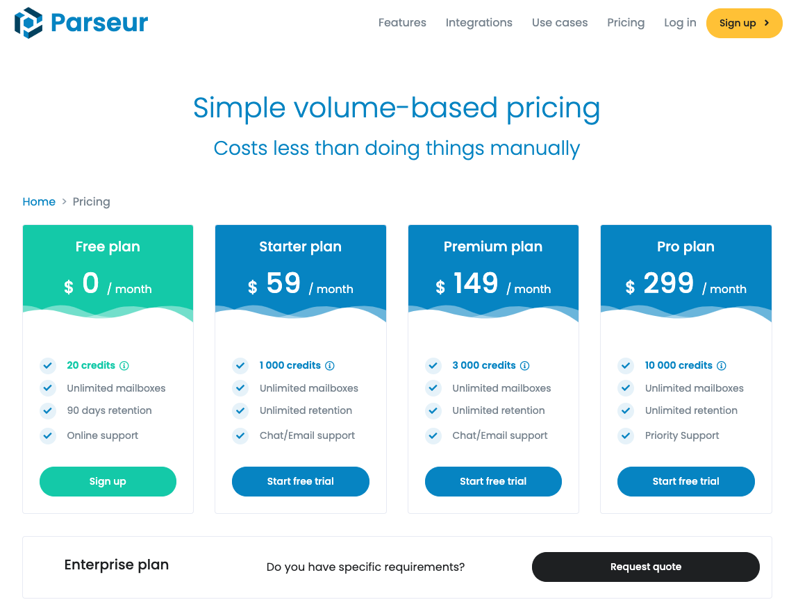 Parseur.com Pricing as of 2020-11-24