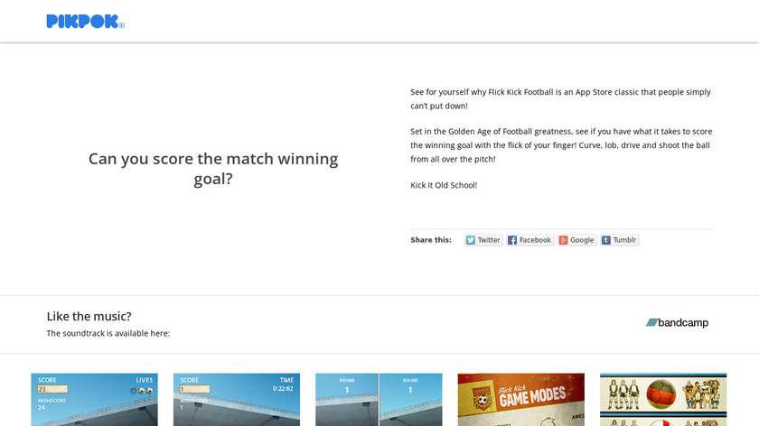Flick Kick Football Landing Page