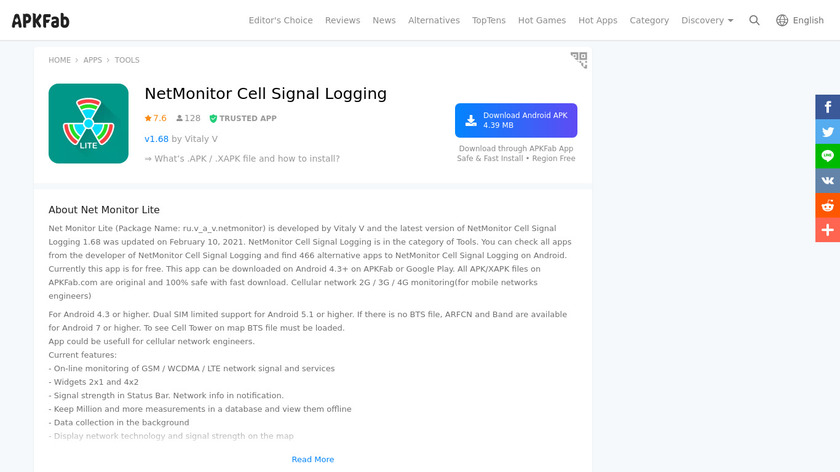 NetMonitor Cell Signal Logging Landing Page