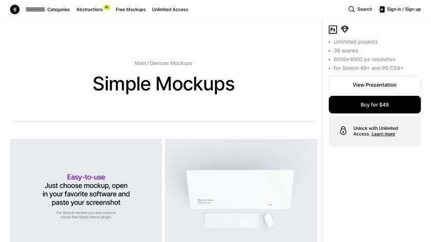 Simple Mockups Landing Page