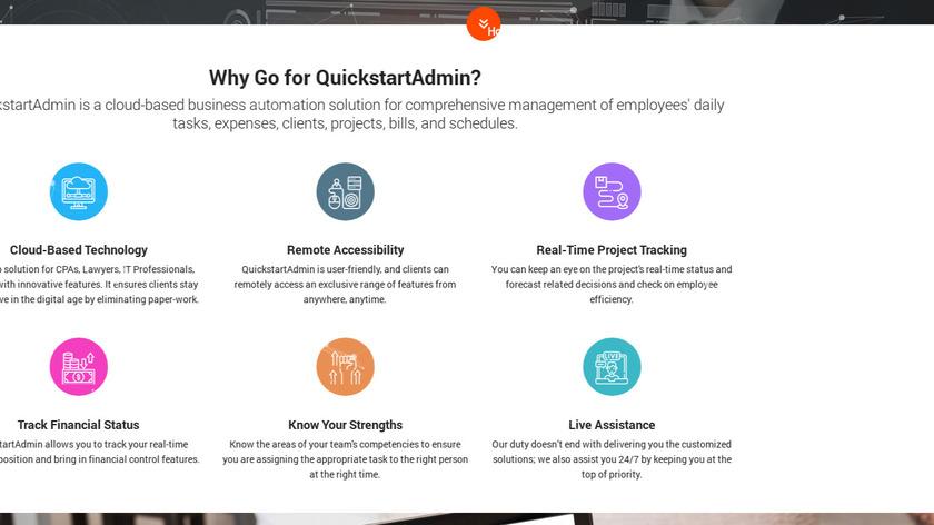 QuickStart Admin Landing Page