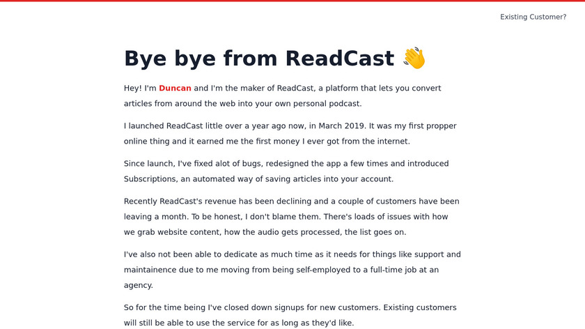 ReadCast Landing Page
