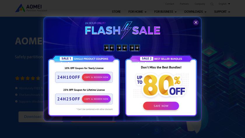 AOMEI Partition Assistant Landing Page