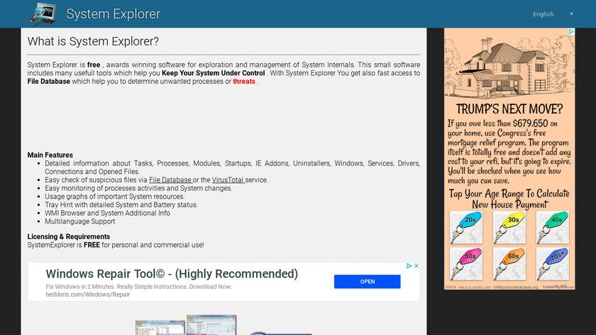 SystemExplorer Landing Page