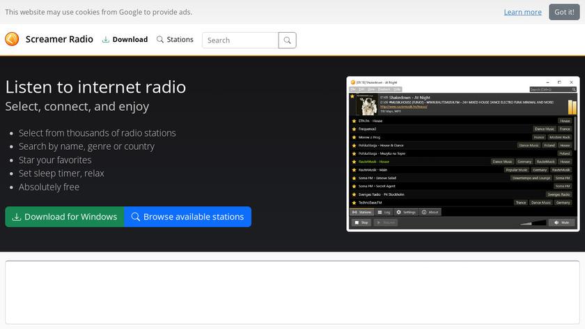 Screamer Radio Landing Page