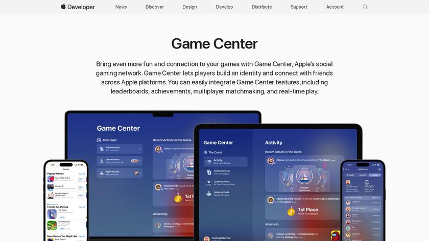 Game Center Landing Page