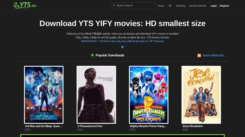 YTS.mx Landing Page