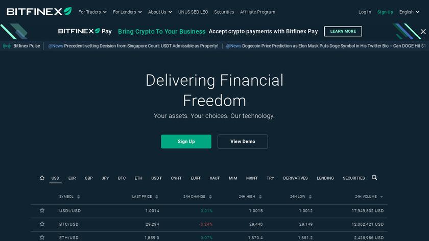 Bitfinex Landing Page