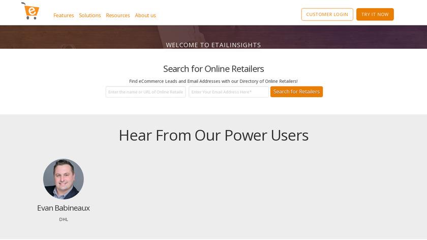 eTailInsights Landing Page