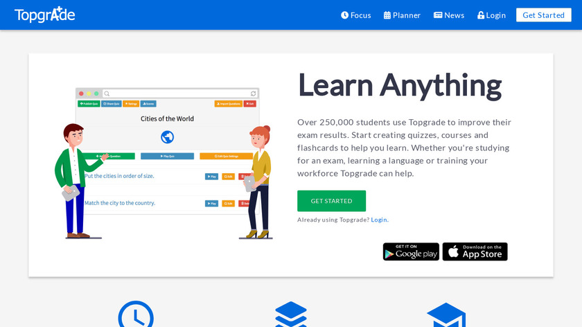 Topgrade Quiz Maker Landing Page