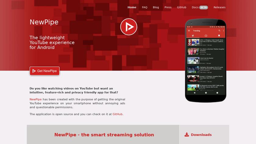 NewPipe Landing Page