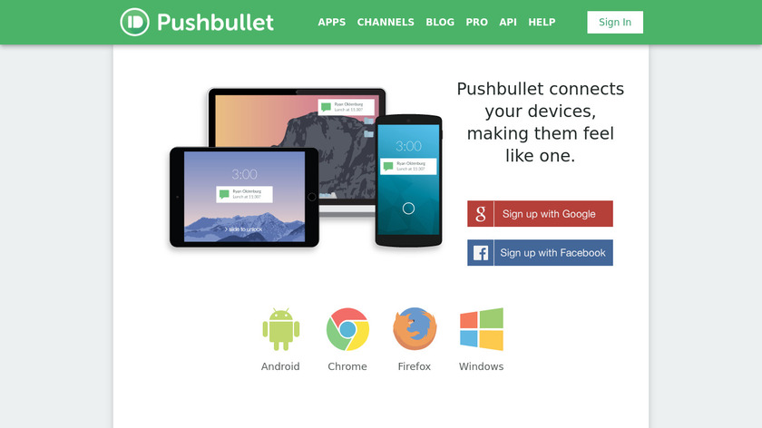Pushbullet Landing Page