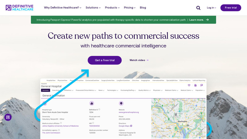 Definitive Healthcare Landing Page