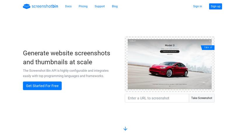 Screenshot Bin Landing Page