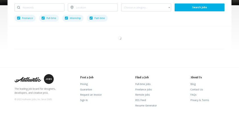 Authentic Jobs Landing Page