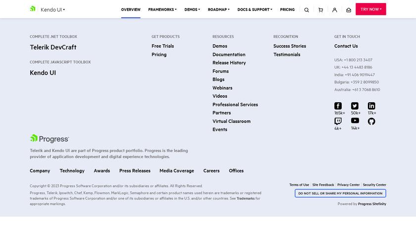 Kendo UI Landing Page