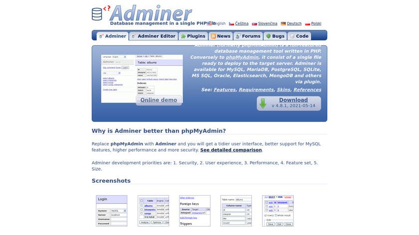 Adminer Landing Page
