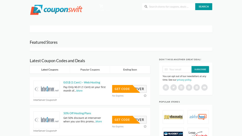 CouponSwift.com Landing Page