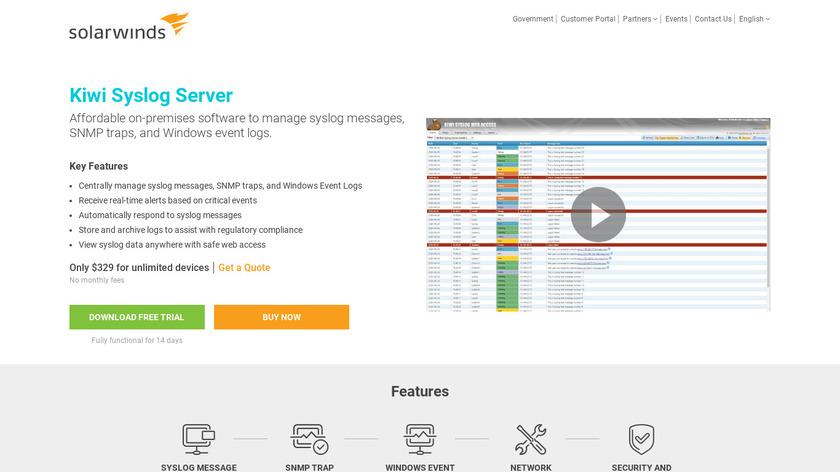 Kiwi Syslog Server Landing Page