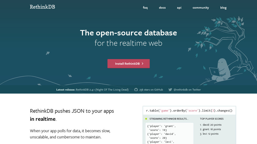 RethinkDB Landing Page