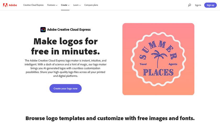 Adobe Spark Logo Maker Landing Page