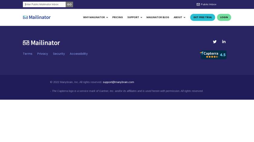 Mailinator Landing Page