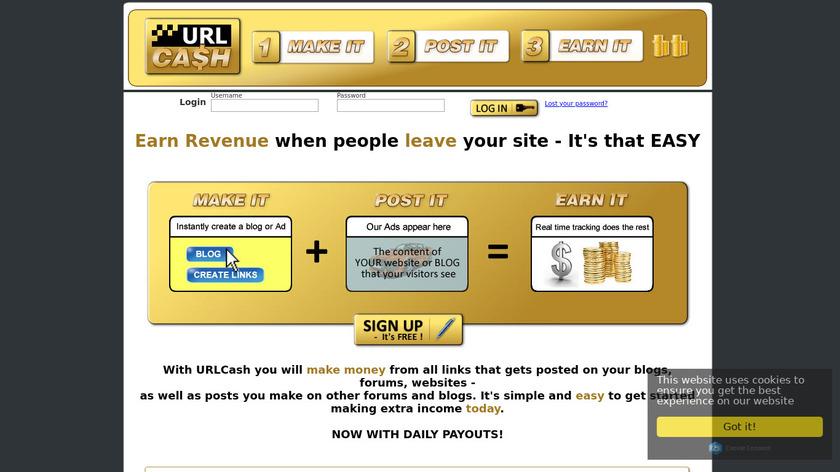 URLCash Landing Page