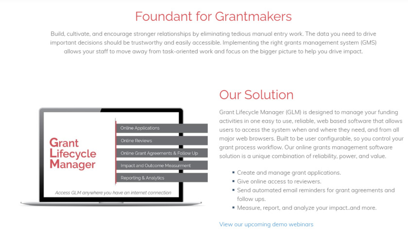 Grant Lifecycle Manager Landing Page