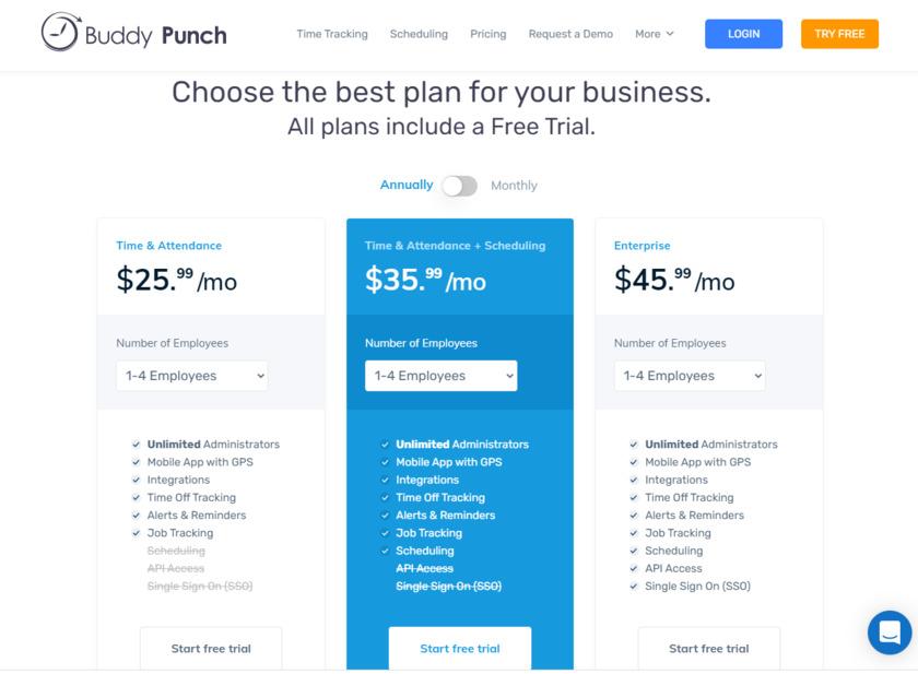 Buddy Punch Pricing